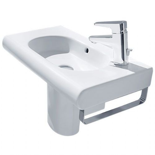 Roca Meridian-N Square Basin With Semi Pedestal - 450mm - Right Handed - 1 Tap Hole - White